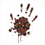 Abstract imprint of the hand poster
