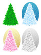Bare christmas trees - green, blue, pink on gold, silver