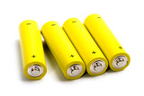 four yellow alkaline batteries