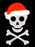 Skull with santa hat and crossbones poster