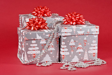 Christmas Gift Boxes with Red Bows