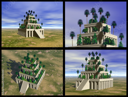 Hanging Gardens of Babylon. 3D reconstructions.