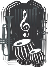 music instrument with music notes