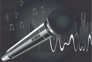 Wireless microphone with music notes