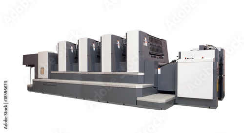 four-section offset printed machine over white