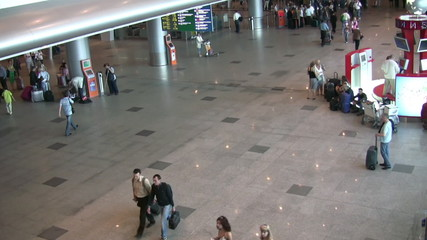 Airport hall, view from the escalator