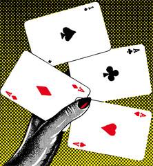 poker pop retro vector illustration