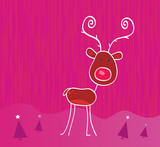 Doodle christmas reindeer Rudolph on snow. VECTOR. poster