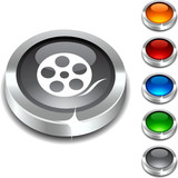 Media 3d button set. Vector illustration poster
