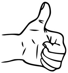 Thumbs Up - Satisfaction - Yes - OK (Vector Line Drawing)