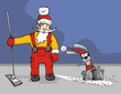 Santa Claus and bunny clean floor vector illustration.