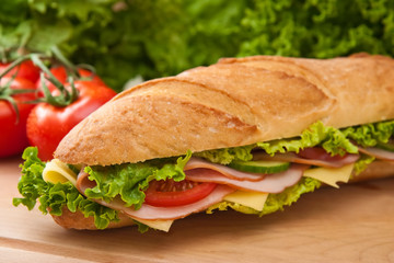 Close up of  a fresh ham & swiss submarine sandwich