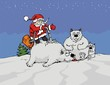 Santa Claus with the vacuum cleaner clean a white bears.