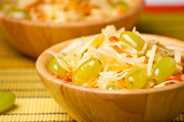 Salad from a sauerkraut with grapes