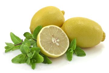 Lemons and mint .