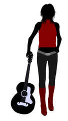 Female Musician Illustration Silhouette