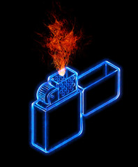 Illustration of a  cigarette lighter isolated on black