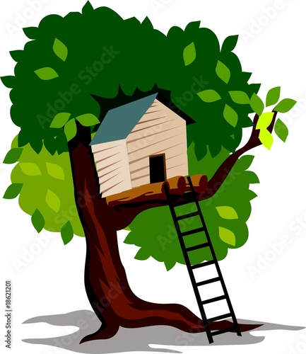 Illustration of house in a  tree