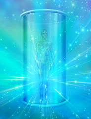 Human female figure in transparent container