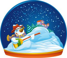 Snowman. Funny cartoon and vector illustration