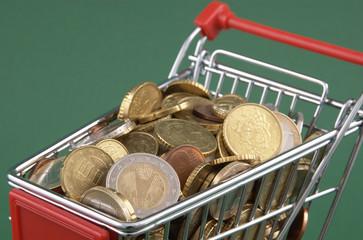geld gefüllter einkaufswagen