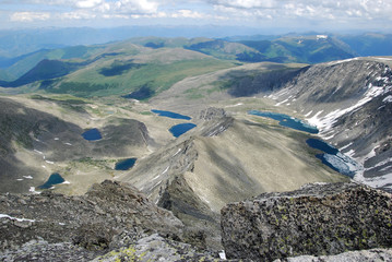 alpine lakes, view from the top of mountain, attitude is 3022 m