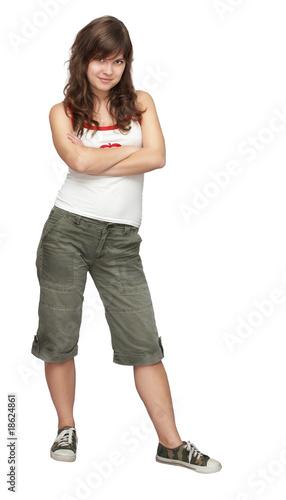 Young beautiful active girl isolated on white