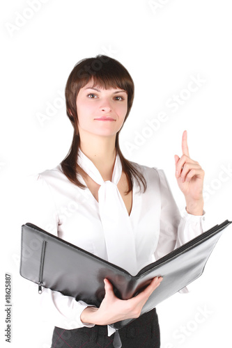 girl - secretary with claret tablet in hands.