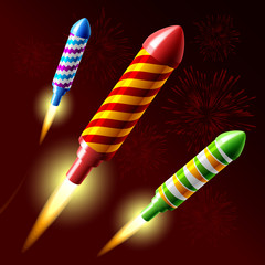Flying fireworks rocket. Vector.