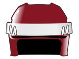hockey helmet in colors of Latvia poster