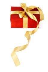 Red gift box with a gold bow on a white background
