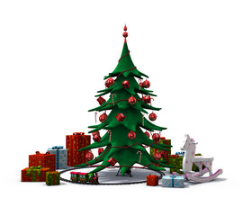 christmas tree with presents and toys