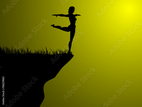 acrobatic silhouette on field