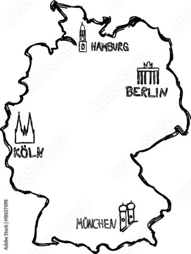 fototapete deutschlandkarte gezeichnet. Black Bedroom Furniture Sets. Home Design Ideas