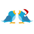 Blue birds over white. One with santas cap
