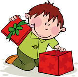 Fototapety Funny boy opens the gift
