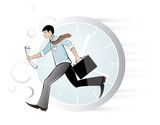 Hurrying businessman poster