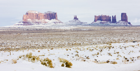 Monument Valley National Park in winter, Utah, Arizona, USA
