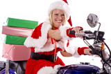Santas helper delivering gifts on motorcycle poster