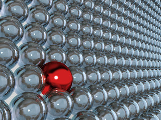 3d blue glass spheres and one contrast red sphere