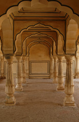 Empty corridor in an abandoned Amber Fort. Rajasthan, India