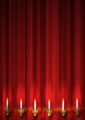 candle and curtain art background