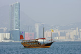 Traditional Chinese junk in Victoria Harbor, Hong Kong