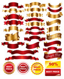 Fototapety Collection of red and gold tapes for design