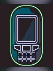 Illustration of a mobile phone in black background