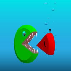 Big part of pie-graph (fish) eats it's small part (bait)