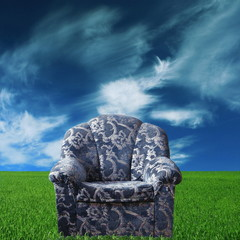 Blue chair in green meadow