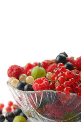 Splitted berries in a bowl