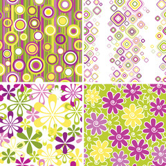 Set of floral and geometric seamless pattern backgrounds