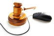 computer mouse and court gavel, on white